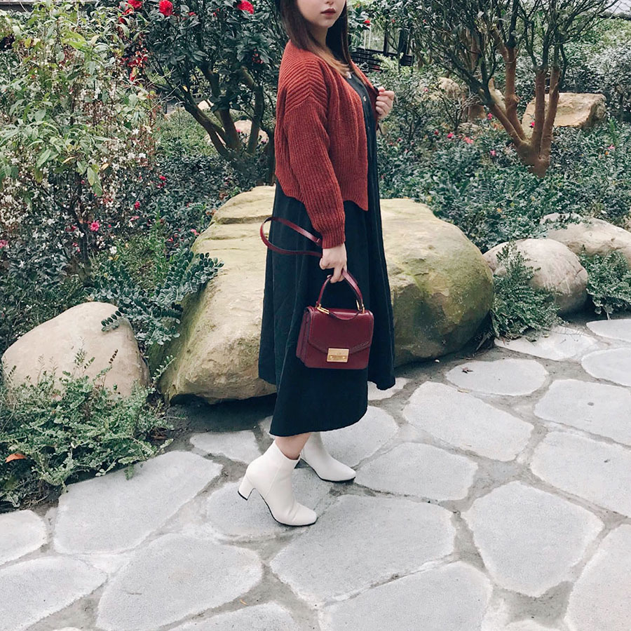 SHEIN 荷葉領洋裝/紅棕色針織外套兩件分享