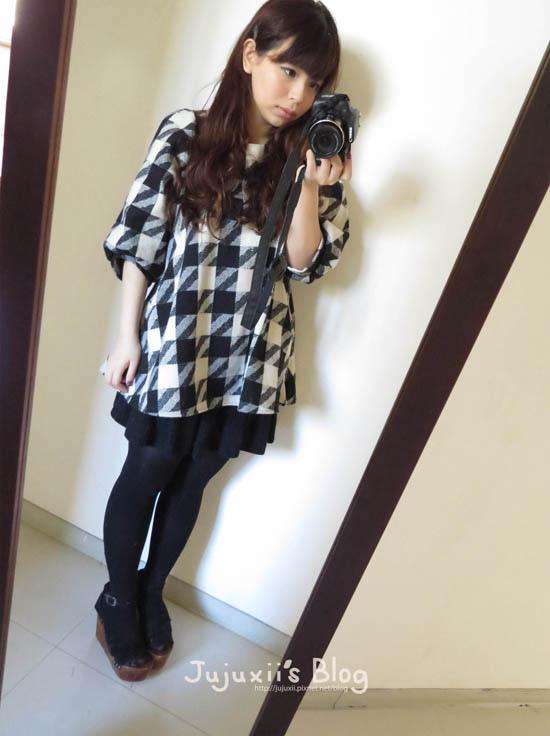 ::購物::大千鳥格紋蓬袖短洋裝 SHIN連線12月購物小分享 @Jujuxii's Blog